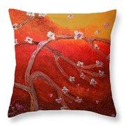 Arbres En Fleur Throw Pillow