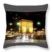 Arc De Triomphe By Bus Tour Greeting Card Poster V2 Throw Pillow