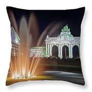Arcade Du Cinquantenaire Fountain At Night - Brussels Throw Pillow by Barry O Carroll