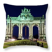 Arcade Du Cinquantenaire At Night - Brussels Throw Pillow