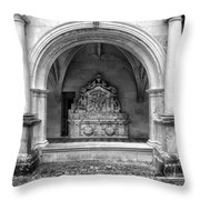 Arch At Fontevraud Abbey Bw Throw Pillow