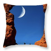 Arch In Canyon Rock Formations Silhouetter Of Hiker Throw Pillow