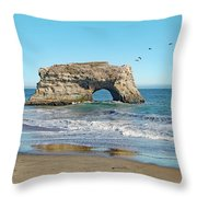 Arch In The Sea With Pelicans Flying By, At Natural Bridges State Beach, Santa Cruz, California Throw Pillow