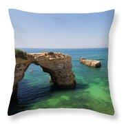 Arch Of Albandeira Beach Throw Pillow