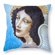 Archangel Contemplating The Holy Child Throw Pillow