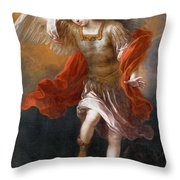 Archangel Michael Hurls The Devil Into The Abyss Throw Pillow