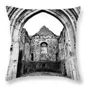 Athassel Priory Tipperary Ireland Medieval Ruins Decorative Arched Doorway Into Great Hall Bw Throw Pillow