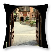 Arched Doorway With A Bavarian View Throw Pillow