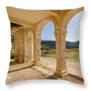 Arches And Stairs Of Derelict Agios Georgios Church Throw Pillow