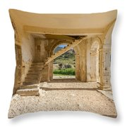 Arches, Entrance And Stairs Of Derelict Agios Georgios Church Throw Pillow