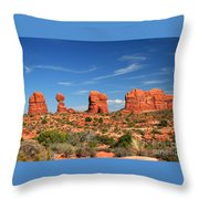 Arches National Park - Hoodoos Carved In Entrada Sandstone Throw Pillow