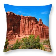 Arches National Park, Utah Usa - Tower Of Babel, Courthouse Tower Throw Pillow