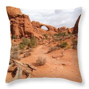 Arches With Wood Throw Pillow