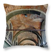 Architectural Ceiling Of The Building Owned By The Rialto Market In Venice, Italy Throw Pillow