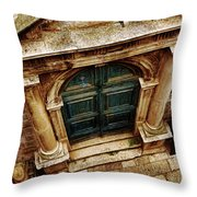 Architectural Green Door Dibrovnik Throw Pillow