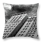 Architecture Tall Buildings Bw Nyc  Throw Pillow