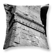 Architecural Detail At Irish Jerpoint Abbey County Kilkenny Ireland Black And White Throw Pillow