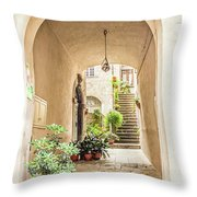 Archway And Stairs In Italy Throw Pillow
