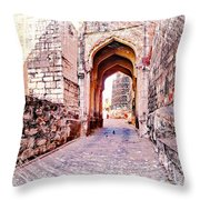 Archways Ornate Palace Mehrangarh Fort India Rajasthan 1a Throw Pillow
