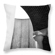 Arcs And Tangents Houston Water Wall In Black And White Throw Pillow