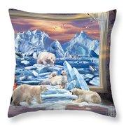 Arctic Bears Coming Throw Pillow