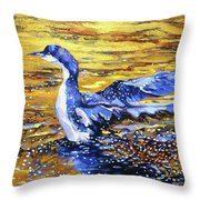 Arctic Loon On Golden Pond Throw Pillow