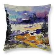 Ardennes Landscape Watercolor Throw Pillow