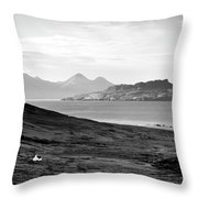 Ardnamurchan Landscape Toward The Islands Of Eigg And Rhum.    Black And White Throw Pillow