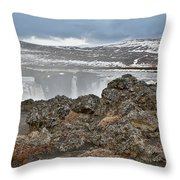 Area By Godafoss Waterfalls, Iceland Throw Pillow