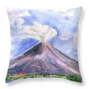 Arenal Volcano Costa Rica Throw Pillow by Arline Wagner