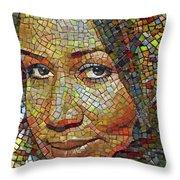 Aretha Franklin Tribute Mosaic Portrait 2 Throw Pillow