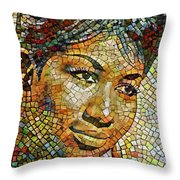 Aretha Franklin Tribute Mosaic Portrait 3 Throw Pillow