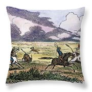 Argentina: Gauchos, 1853. Gauchos Catching Cattle On The Argentine Pampas. Wood Engraving, American, 1853 Throw Pillow