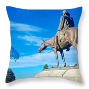 Argentinian Flag And Julio Roca-1843 To 1914-sculpture In Central Park In Bariloche-argentina  Throw Pillow