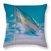 Argentinian Flag In Central Park In Bariloche-argentina  Throw Pillow