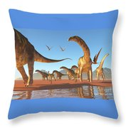 Argentinosaurus Herd Throw Pillow