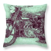 Ariel Square Four 3 - 1931 - Vintage Motorcycle Poster - Automotive Art Throw Pillow