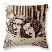 Arielle And Gabrielle In Sepia Tone Throw Pillow