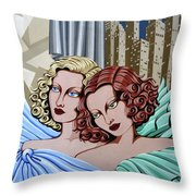 Arielle And Gabrielle Throw Pillow by Tara Hutton