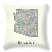 Arizona Line Art Map Throw Pillow