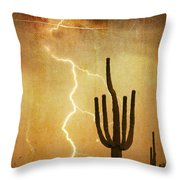 Arizona Saguaro Lightning Strike Poster Print Throw Pillow