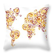 Arizona State University Colors Swirl Map Of The World Atlas Throw Pillow