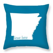 Arkansas Is Home Base White Throw Pillow