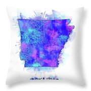 Arkansas Map Watercolor 2 Throw Pillow