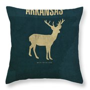 Arkansas State Facts Minimalist Movie Poster Art Throw Pillow