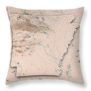 Arkansas State Usa 3d Render Topographic Map Neutral Border Throw Pillow