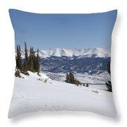 Arkansas Valley From Mount Elbert Colorado In Winter Throw Pillow