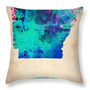 Arkansas Watercolor Map Throw Pillow by Naxart Studio