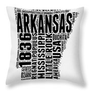 Arkansas Word Cloud 2 Throw Pillow