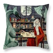 Arleas And The Wizard - Green Throw Pillow